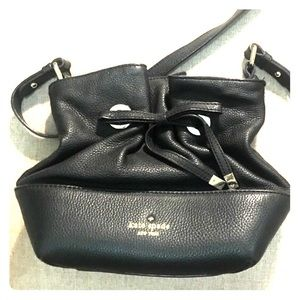 Kate Spade Black Leather Bow Tie Bucket Bag